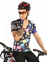 Недорогие -FirtySnow Муж. С короткими рукавами Велокофты - Черный Мультипликация Велоспорт Джерси Дышащий Быстровысыхающий Виды спорта Полиэстер Горные велосипеды Шоссейные велосипеды Одежда / Эластичная