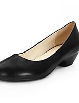 Недорогие -Жен. Наппа Leather Осень Обувь на каблуках На толстом каблуке Черный