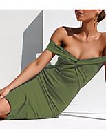 Недорогие -Жен. Классический / Уличный стиль Облегающий силуэт / Оболочка Платье - Однотонный, Рюши Выше колена