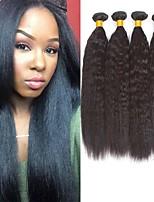 Недорогие -4 Связки Бразильские волосы Вытянутые Натуральные волосы Необработанные натуральные волосы Головные уборы Человека ткет Волосы Пучок волос 8-28 дюймовый Естественный цвет Ткет человеческих волос