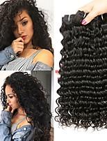Недорогие -3 Связки Бразильские волосы Монгольские волосы Волнистые Не подвергавшиеся окрашиванию человеческие волосы Remy Подарки Косплей Костюмы Головные уборы 8-28 дюймовый Естественный цвет