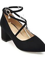 Недорогие -Жен. Микроволокно Весна Обувь на каблуках На толстом каблуке Белый / Черный / Красный