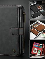 baratos -CaseMe Capinha Para Apple iPhone X / iPhone 8 / iPhone 8 Plus Carteira / Porta-Cartão / Com Suporte Capa Proteção Completa Sólido Rígida PU Leather para iPhone XS / iPhone XR / iPhone XS Max