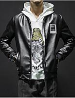 Недорогие -Муж. Повседневные Классический Осень Обычная Кожаные куртки, Однотонный / Геометрический принт Воротник-стойка Длинный рукав Полиуретановая Черный XL / XXL / XXXL