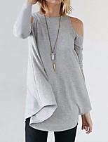 Недорогие -женская узкая футболка размера eu / us - цветная круглая шея