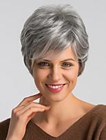 Недорогие -Человеческие волосы без парики Натуральные волосы Естественный прямой Стрижка под мальчика Модный дизайн / Легко туалетный / Удобный Темно-серый Короткие Без шапочки-основы Парик Жен.