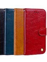 Недорогие -Кейс для Назначение Xiaomi Xiaomi Pocophone F1 / Xiaomi Mi 8 / Xiaomi Mi 6X(Mi A2) Кошелек / Бумажник для карт / со стендом Чехол Однотонный Твердый Кожа PU