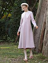 Недорогие -Жен. Элегантный стиль Маленькое черное Платье - Однотонный, Кружева / Пэчворк Средней длины
