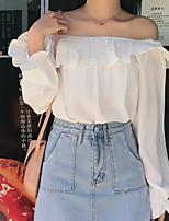 Недорогие -узкая женская блузка азиатского размера - однотонная с плеча
