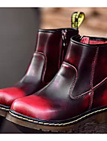 Недорогие -Жен. Наппа Leather Наступила зима Ботинки На толстом каблуке Ботинки Черный / Коричневый / Винный