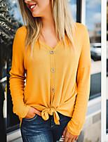 Недорогие -женская хлопковая футболка - сплошной цвет V-образным вырезом