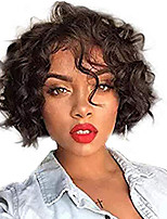 cheap -Human Hair Lace Front Wig Brazilian Hair Wavy Black Wig Bob Short Bob 130% Density with Baby Hair Natural Hairline For Black Women 100% Virgin 100% Hand Tied Black Women's Short Human Hair Lace Wig