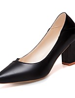 Недорогие -Жен. Полиуретан Весна Обувь на каблуках На толстом каблуке Заостренный носок Черный / Бежевый / Розовый