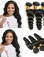 Недорогие -4 Связки Бразильские волосы Индийские волосы Свободные волны Не подвергавшиеся окрашиванию человеческие волосы Remy Подарки Человека ткет Волосы Сувениры для чаепития 8-28 дюймовый / Черный