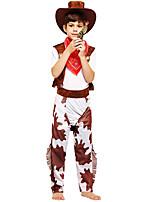 Недорогие -Westworld Вест Ковбой Ковбойские костюмы Мальчики Детские Инвентарь Рождество Хэллоуин Карнавал Фестиваль / праздник Полиэстер Инвентарь Кофейный Рисунок