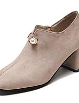 Недорогие -Жен. Полиуретан Весна Минимализм Обувь на каблуках На толстом каблуке Квадратный носок Черный / Бежевый