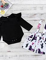 Недорогие -малыш Девочки Активный Повседневные Цветочный принт Длинный рукав Обычный Полиэстер Набор одежды Черный