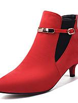 Недорогие -Жен. Замша Наступила зима Ботинки На каблуке-рюмочке Заостренный носок Ботинки Черный / Серый / Красный