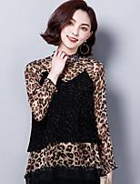 Недорогие -Жен. С принтом Блуза Классический Леопард