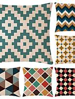 abordables -6 pcs Coton / Lin Taie d'oreiller, simple / Géométrique simple / Géométrique