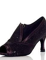 """Недорогие -Жен. Обувь для латины Синтетика Сандалии / На каблуках Цепочки Каблук """"Клеш"""" Персонализируемая Танцевальная обувь Черный"""