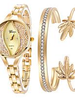Недорогие -Жен. Часы-браслет Наручные часы Кварцевый Нержавеющая сталь Золотистый 30 m Творчество Повседневные часы Аналоговый Мода Элегантный стиль - Золотистый Один год Срок службы батареи
