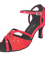 """Недорогие -Жен. Обувь для латины Полиуретан На каблуках Лак Каблук """"Клеш"""" Танцевальная обувь Красный"""