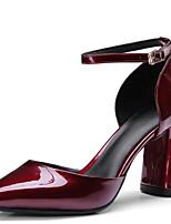 Недорогие -Жен. Наппа Leather / Лакированная кожа Лето Милая / Минимализм Обувь на каблуках На толстом каблуке Заостренный носок Черный / Винный