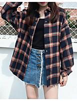Недорогие -женская рубашка азиатского размера - клетчатый воротник