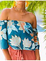 Недорогие -женская свободная футболка с цветочным принтом