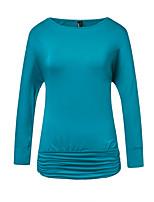 Недорогие -женская хлопковая футболка - однотонная шея