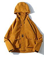 Недорогие -Муж. Повседневные Классический Осень Обычная Куртка, Однотонный Капюшон Длинный рукав Хлопок / Полиэстер Черный / Серый / Желтый L / XL / XXL