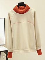 Недорогие -женская хлопковая толстовка с длинным рукавом - письмо водолазка розовая м
