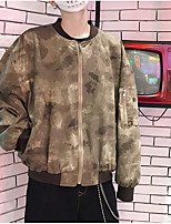 Недорогие -Муж. Повседневные Уличный стиль Весна & осень Обычная Куртка, камуфляж Круглый вырез Длинный рукав Полиэстер Коричневый M / L / XL