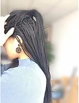 Недорогие -Синтетические кружевные передние парики / Дреды / Faux Locs Жен. переплетенный Черный Стрижка каскад / тесьма 130% Человека Плотность волос Искусственные волосы 24 дюймовый / Лента спереди