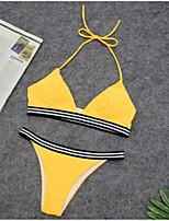Недорогие -Жен. Классический Синий Красный Желтый Стринги Бикини Купальники - Полоски S M L