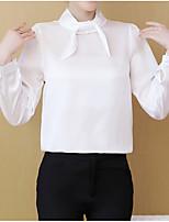 Недорогие -женская рабочая рубашка азиатского размера - однотонная шея