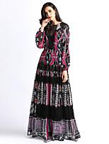 Недорогие -Жен. Классический / Элегантный стиль А-силуэт / С летящей юбкой Платье - Контрастных цветов, Кружева / Пэчворк Макси Черный и красный