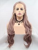 Недорогие -Синтетические кружевные передние парики переплетенный / Loose Curl Стрижка каскад Розовое золото 130% Человека Плотность волос Искусственные волосы 24 дюймовый Жен. Женский Розовый Парик Длинные