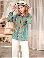 Недорогие -женская рубашка азиатского размера - графический воротник