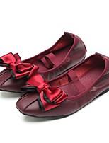 Недорогие -Девочки Обувь Овчина Осень Удобная обувь / Балетки На плокой подошве для Дети / Для подростков Черный / Розовый / Винный