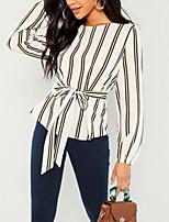 Недорогие -узкая женская блузка азиатского размера - в полоску