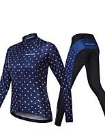 Недорогие -Realtoo Жен. Длинный рукав Велокофты и лосины - Темно-синий Велоспорт Наборы одежды Дышащий 3D-панель Виды спорта Спандекс Классика Горные велосипеды Шоссейные велосипеды Одежда / Слабоэластичная
