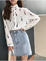 Недорогие -женская рубашка азиатского размера - воротник рубашки животных