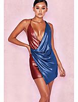 Недорогие -Жен. Оболочка Платье - Контрастных цветов, Открытая спина Выше колена