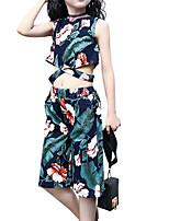 Недорогие -Дети Девочки Активный / Изысканный Цветочный принт С принтом С короткими рукавами Хлопок / Искусственный шёлк Набор одежды Белый