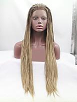 Недорогие -Синтетические кружевные передние парики / Дреды / Faux Locs Жен. переплетенный Золотистый Стрижка каскад / тесьма 130% Человека Плотность волос Искусственные волосы 24 дюймовый / Коричневый