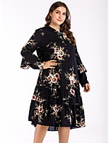 Недорогие -Жен. Классический Оболочка Платье - Однотонный / Геометрический принт Средней длины