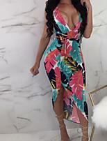 baratos -Mulheres Bainha Vestido - Frente Única, Geométrica Assimétrico