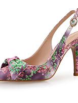 Недорогие -Жен. Синтетика Весна лето Милая Обувь на каблуках На шпильке Заостренный носок Бант Светло-лиловый